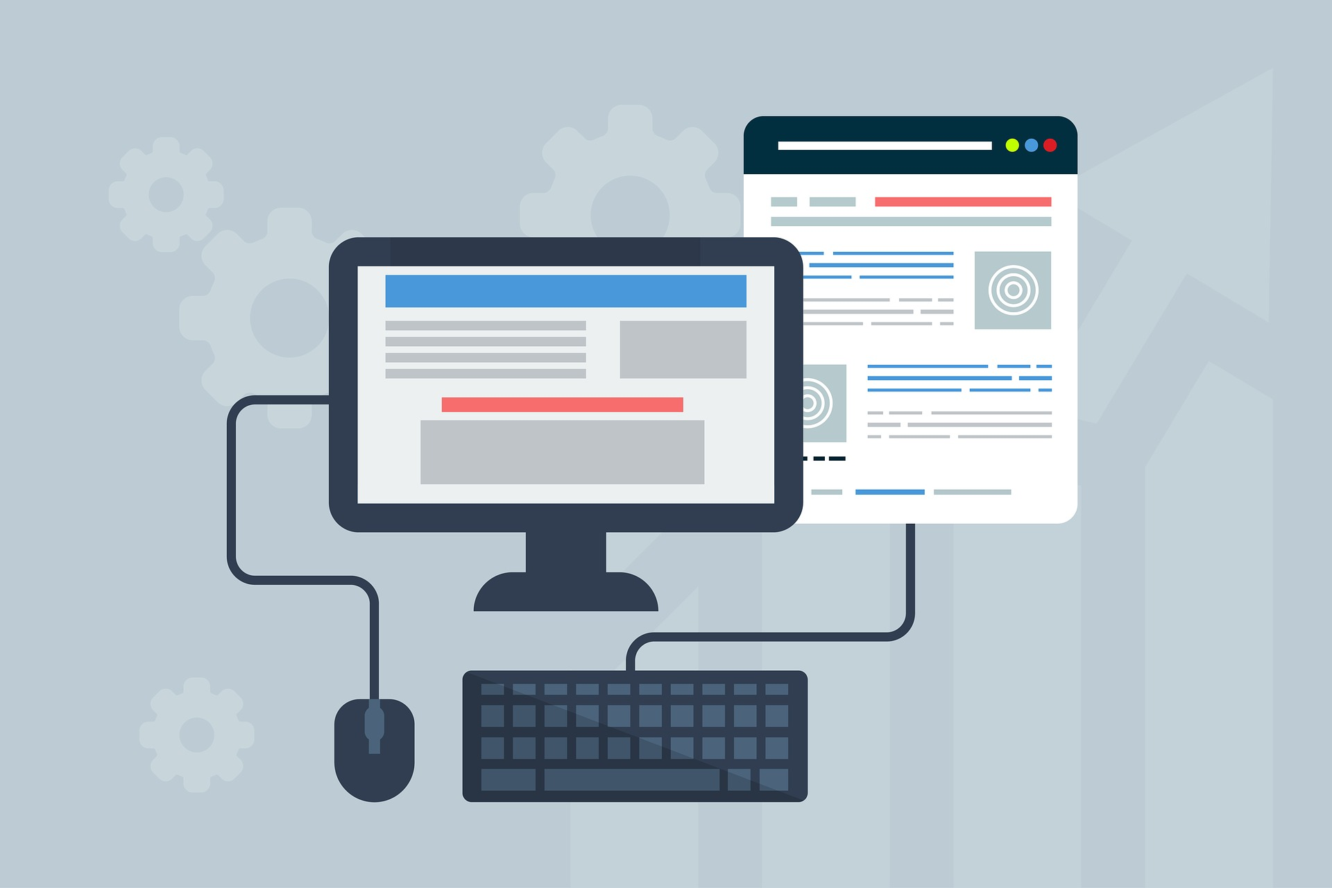 Bildschirm und Webseite mit Tastatur und Maus verbunden