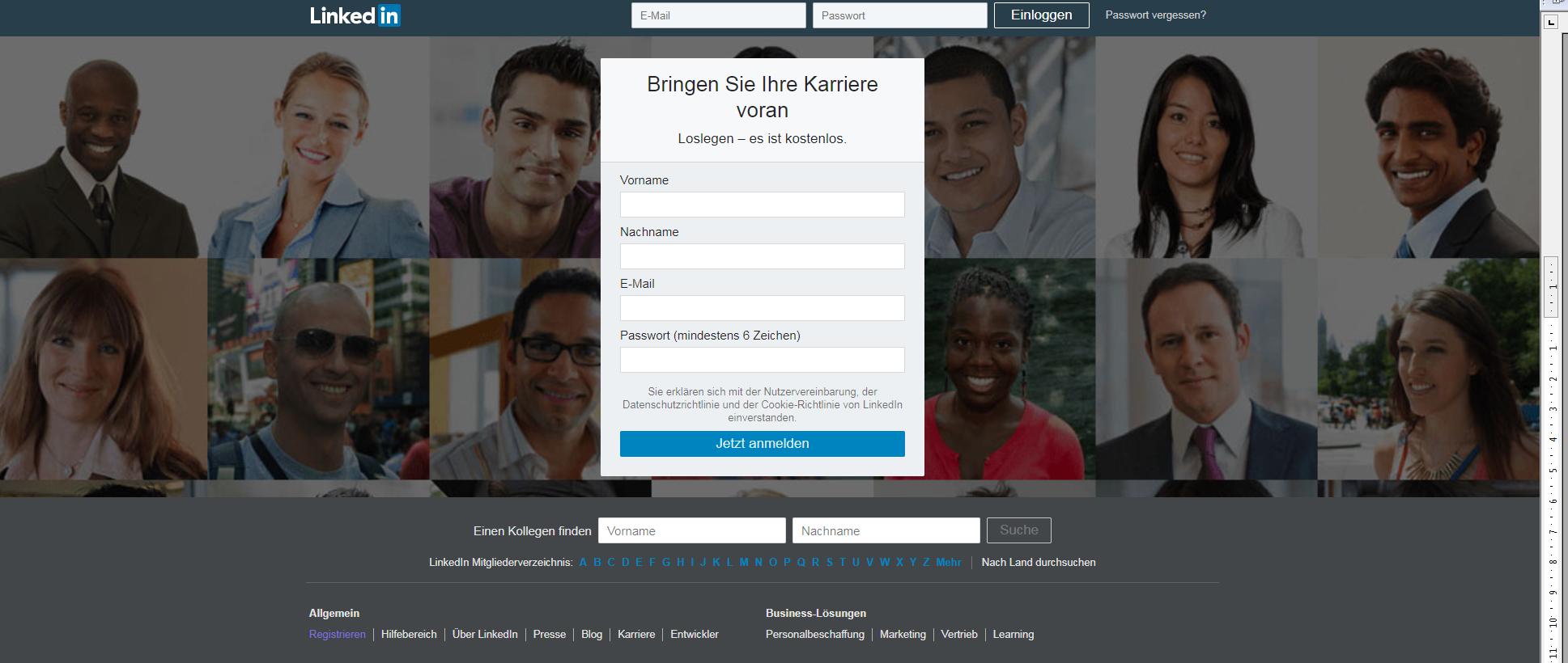 Screenshot LinkedIn Startseite