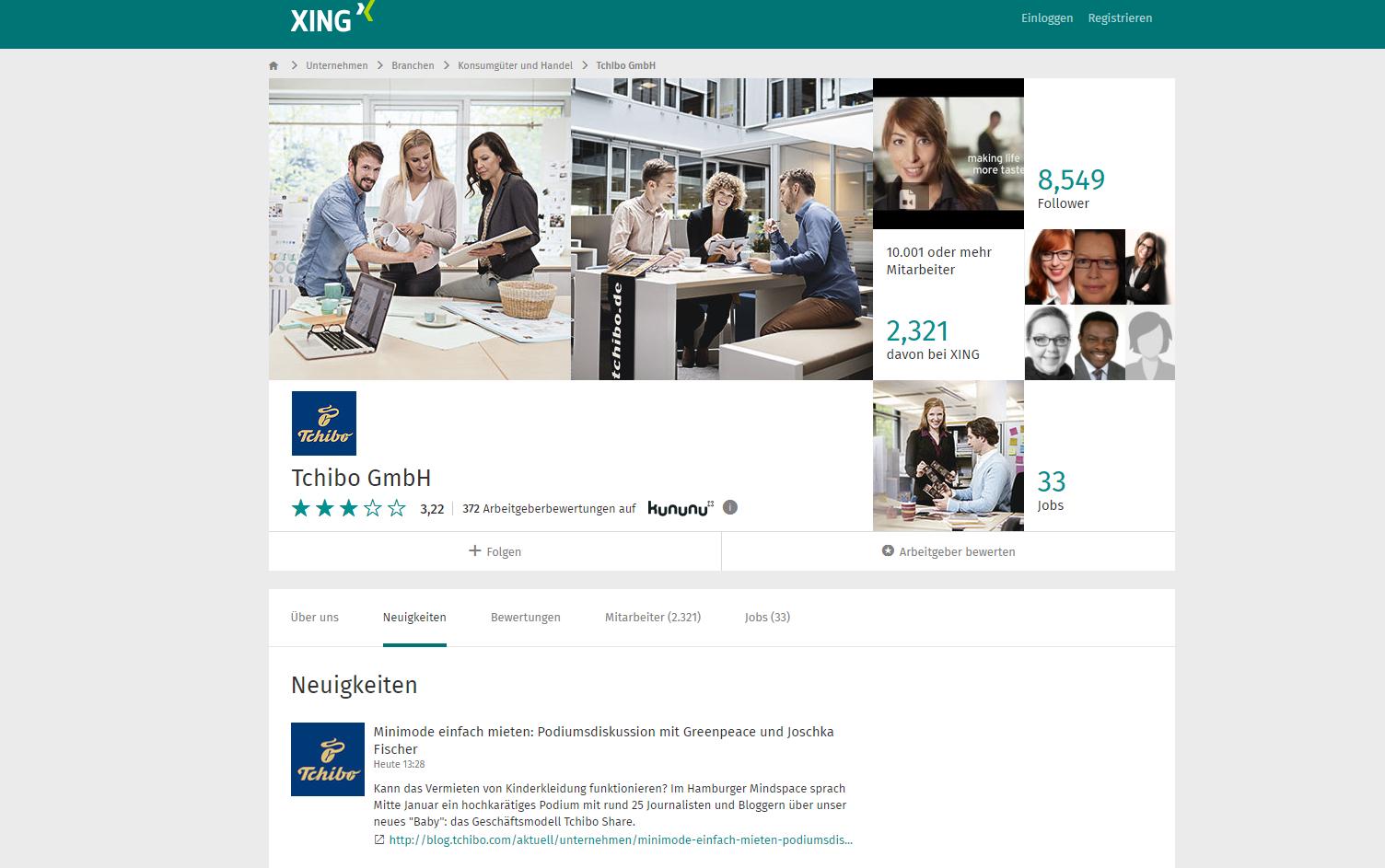 Xing Unternehmensprofil Tchibo