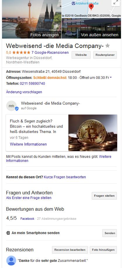 Google My Business Eintrag der Webweisend -die Media Company-