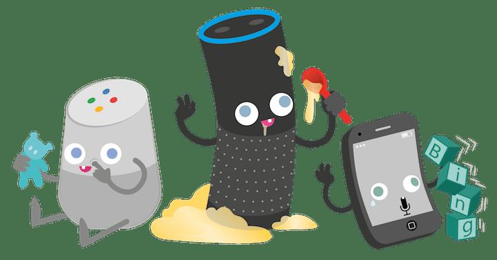 Drei Figuren (Lautsprecher und Handy) auf schachbrettartigem Hintergrund, die für die digitalen Assistenten stehen sollen: Smart Home Assistenten und Smartphonge mit integrierter Sprachsuchfunktion