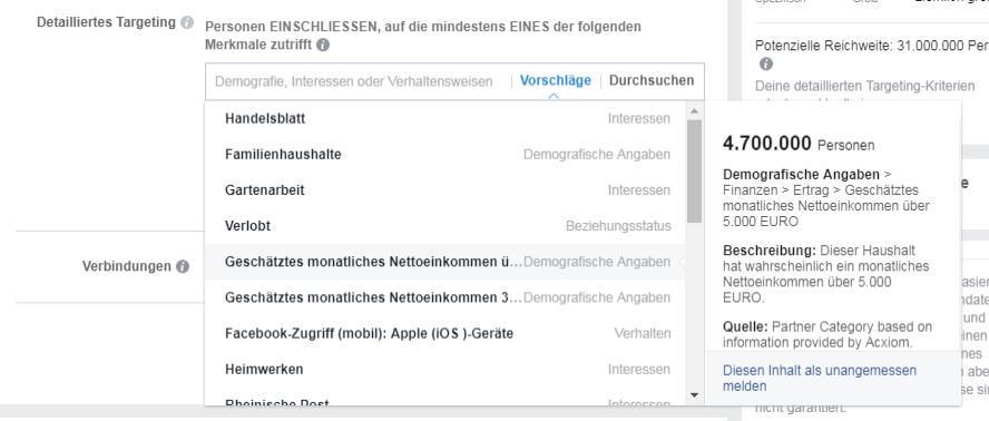 Möglichkeiten der Zielgruppeneingrenzung innerhalb der Facebook Ads