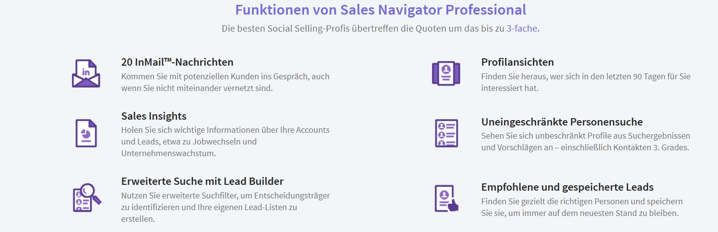 Funktionen von Sales Navigator Professional bei XING