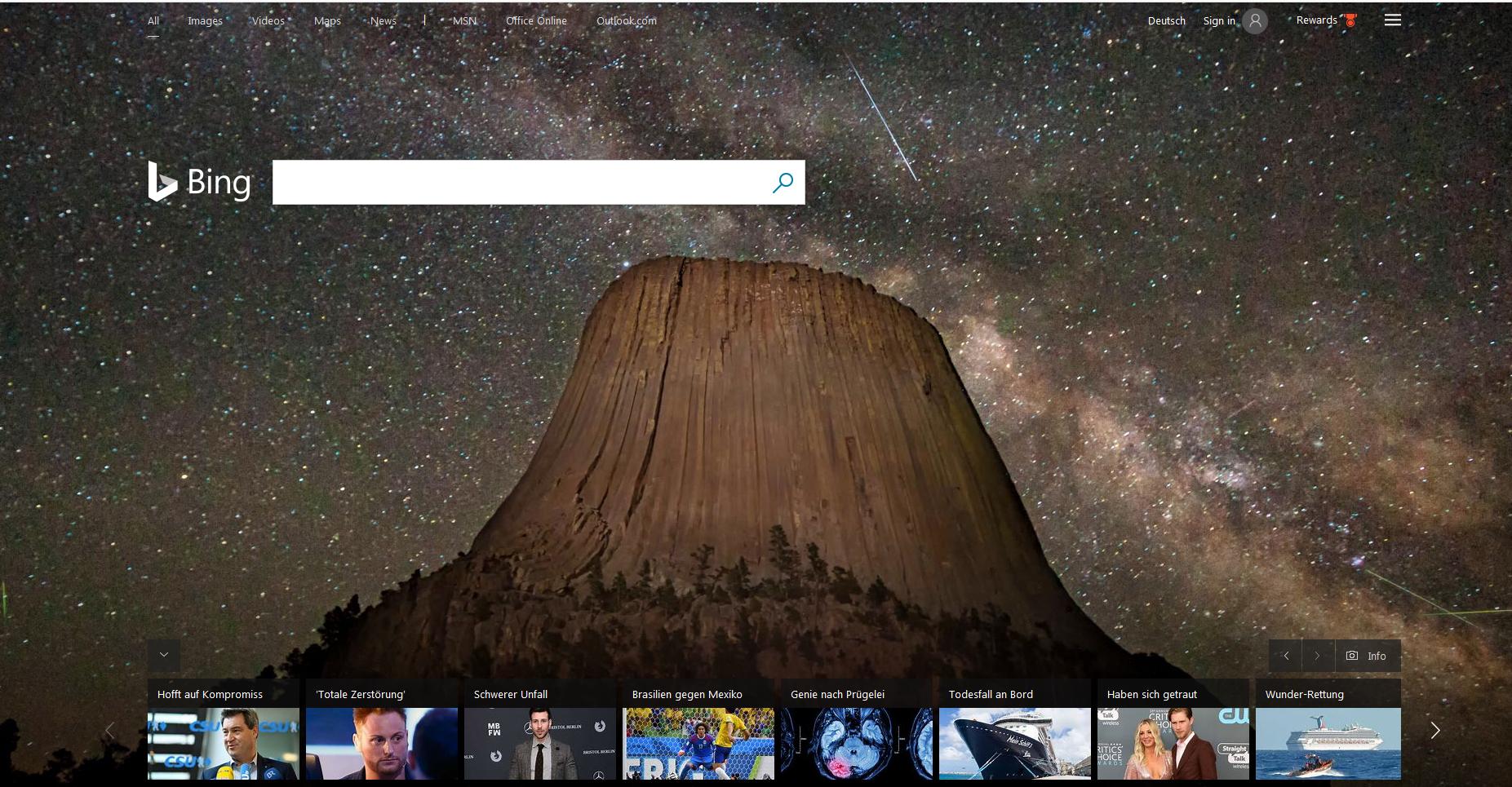 Bild zeigt das Design der Bing Suchmaschine: Foto des Devils Tower in Wyoming