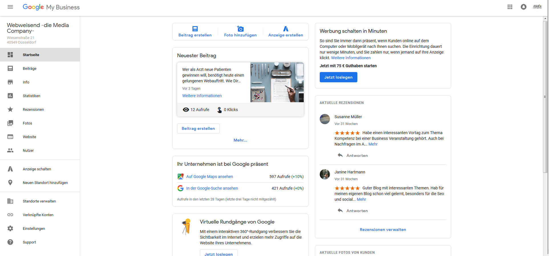 Google My Business Dashboard zur Verwaltung des Unternehmenseintrags