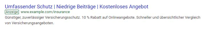 Beispiel einer Google Ads Anzeige