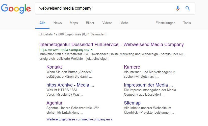 Screenshot eines Rich Snippets