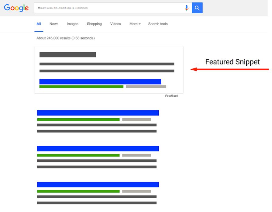 abstrakte Google Suchergebnisse und Featured Snippet