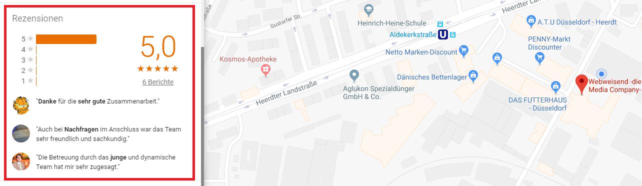 Screenshot einer Google Maps Karte auf dem Desktop, auf dem auf der linken Seite Rezensionen angezeigt werden