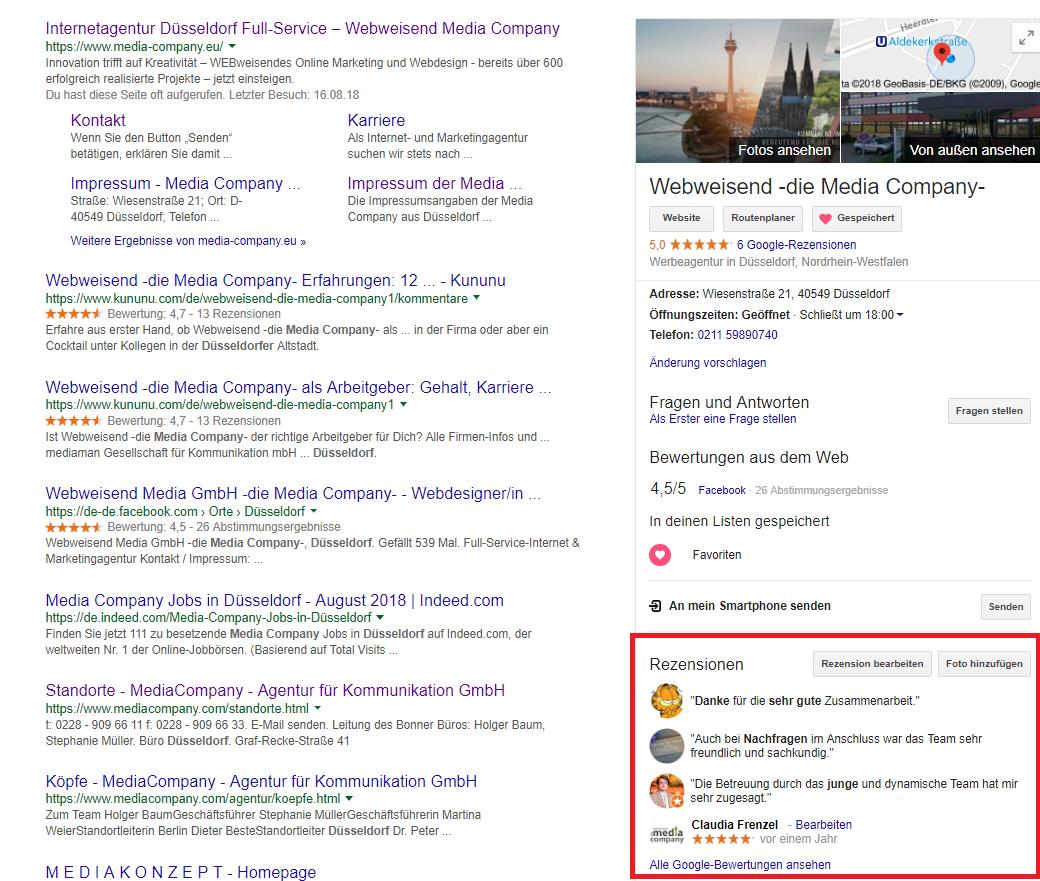 Screenshot einer Google Suche auf dem Desktop, auf dem Rezensionen im Google My Business Eintrag angezeigt werden