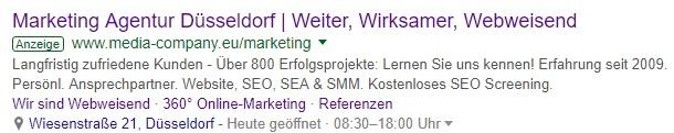 Beispiel einer SEA-Anzeige inkl. Anzeigenerweiterung der Media Company Düsseldorf