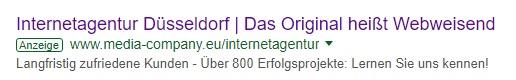 Beispiel einer SEA-Anzeige der Media Company Düsseldorf