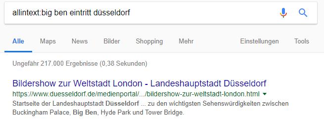 """Suchergebnisse einer Google-Suchanfrage mit Suchoperator allintext - """"allintext:big ben eintritt düsseldorf"""""""