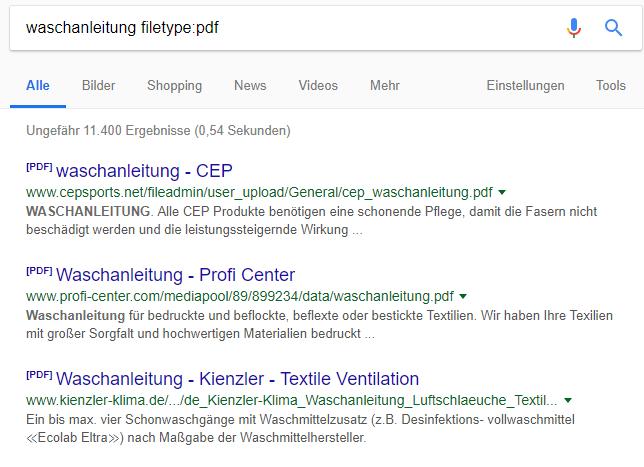 """Suchergebnisse einer Google-Suchanfrage mit dem Suchoperator Filetype – am Beispiel """"Waschanleitung filetype:pdf"""""""