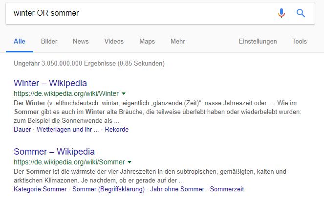 """Suchergebnisse einer Google-Suchanfrage nach Sommer oder Winter mit dem Suchbefehl """"Oder"""""""
