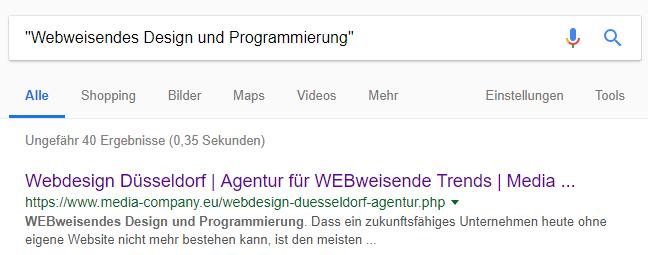 Im Google Suchbefehl ist eine Suchphrase in Anführungszeichen gesetzt, das erste Suchergebnis stimmt exakt mit der Anfrage überein