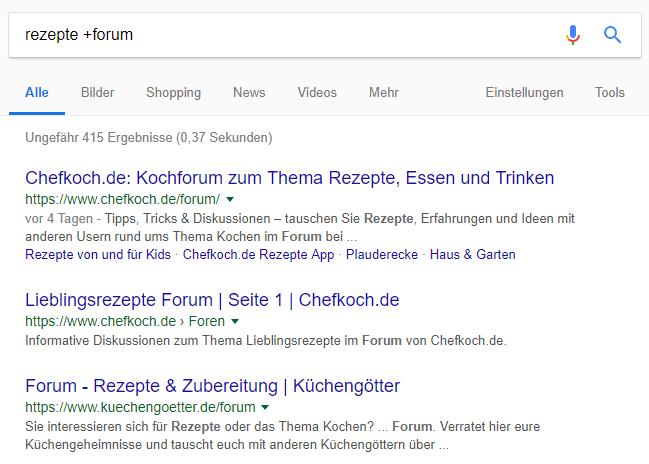 """Suchergebnisse einer Google-Suchanfrage mit Plus-Suchoperator - """"Rezepte +forum"""""""