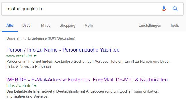 """Suchergebnisse einer Suchanfrage mit dem Suchoperator related: – am Beispiel """"related:google.de"""""""