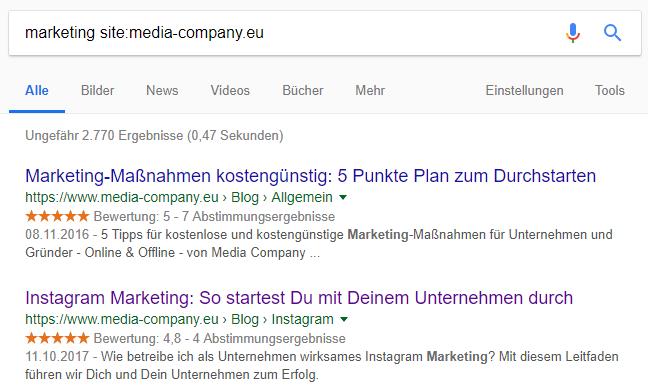 """Suchergebnisse einer Google-Suchanfrage mit dem Suchoperator site: – am Beispiel """"marketing site:media-company.eu"""""""