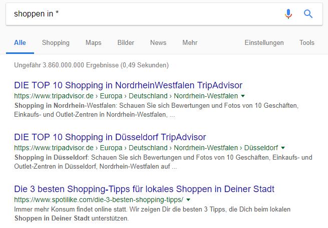"""Suchergebnisse einer Google-Suchanfrage mit Platzhalter - """"Shoppen in *"""""""
