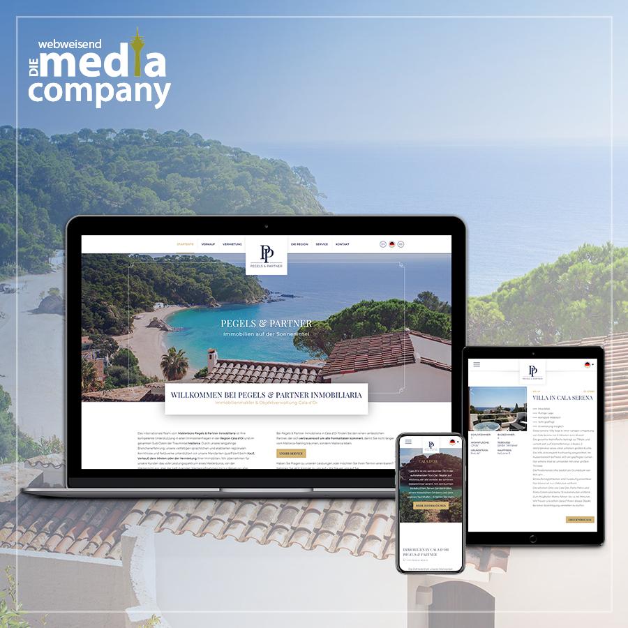 Laptop, Tablet und Smartphone mit der Website Pegels&Partner als Beispiel für Responsive Webdesign