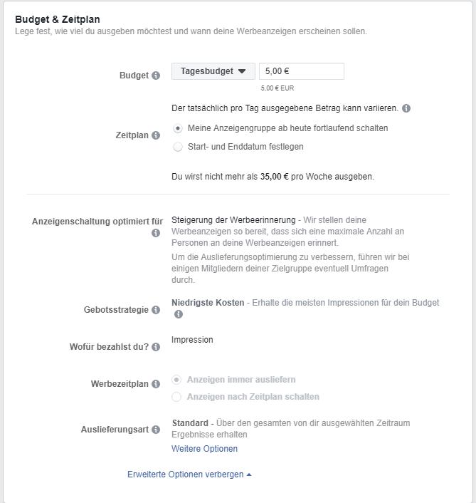 Einstellmöglichkeiten zu Budget und Zeitplan der Facebook Ads