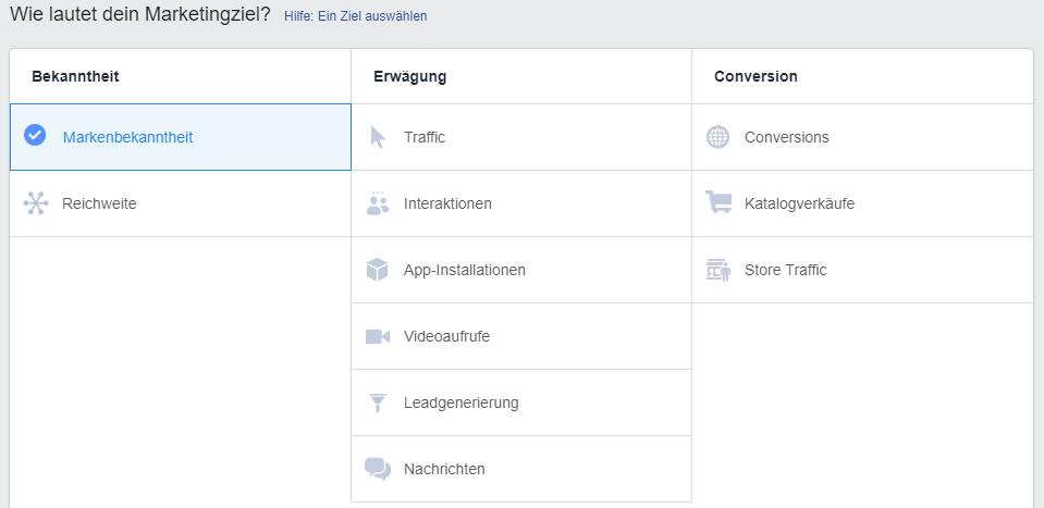 Auswahlmöglichkeiten der Marketingziele für Facebook Ads