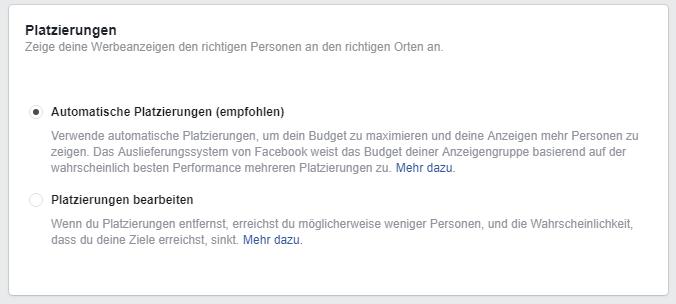 Auswahlmöglichkeiten der Platzierung Deiner Facebook Ads