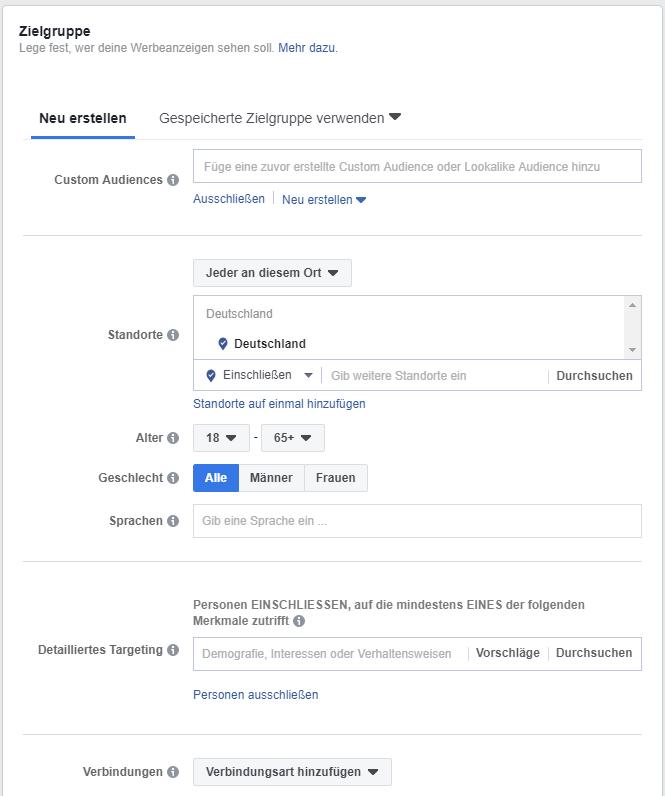 Auswahlmöglichkeiten zur Bestimmung der Zielgruppe der Facebook Ads