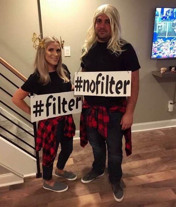 Frau und Mann mit gleichem Outfit als Karnevalskostüm