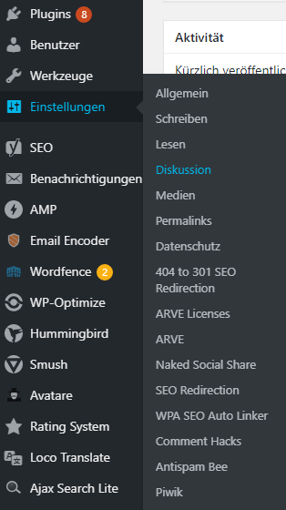 WordPress Navigation Einstellungen und Diskussion