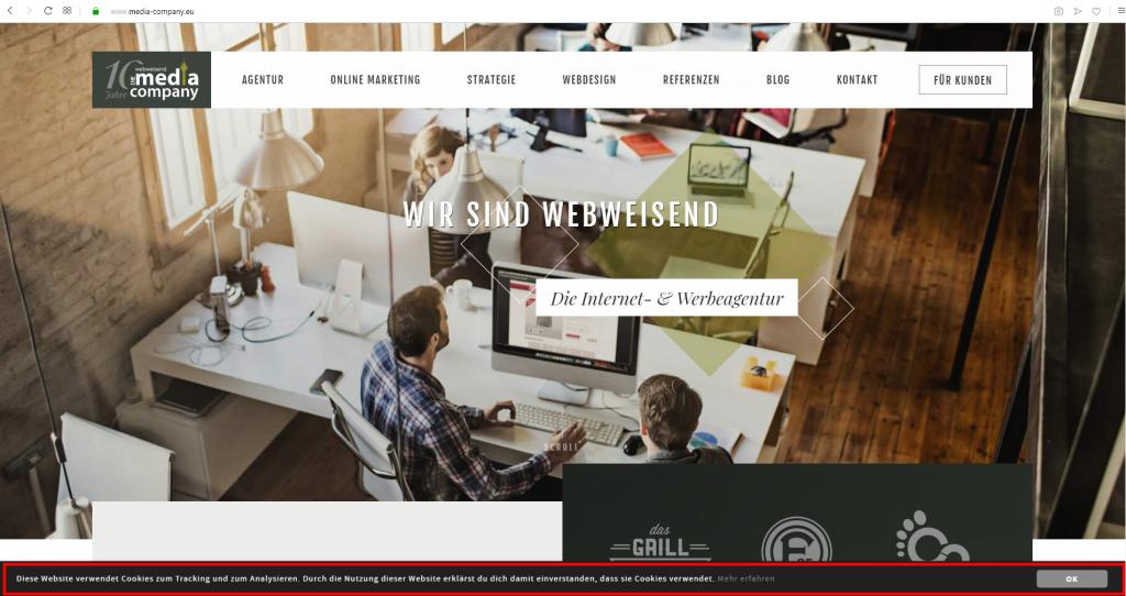 Screenshot der Webseite von Webweisend - die Media Company mit markierter Cookie-Leiste.