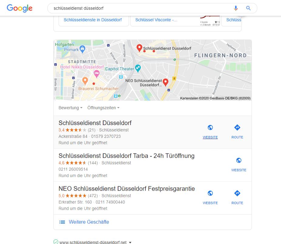 Screenshot der Ergebnisliste Schlüsseldienst Düsseldorf