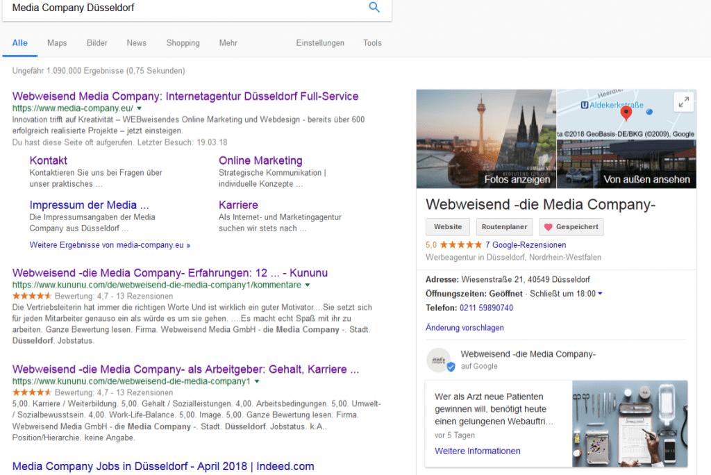 Google Ergebnisseite der Webweisend Media Company