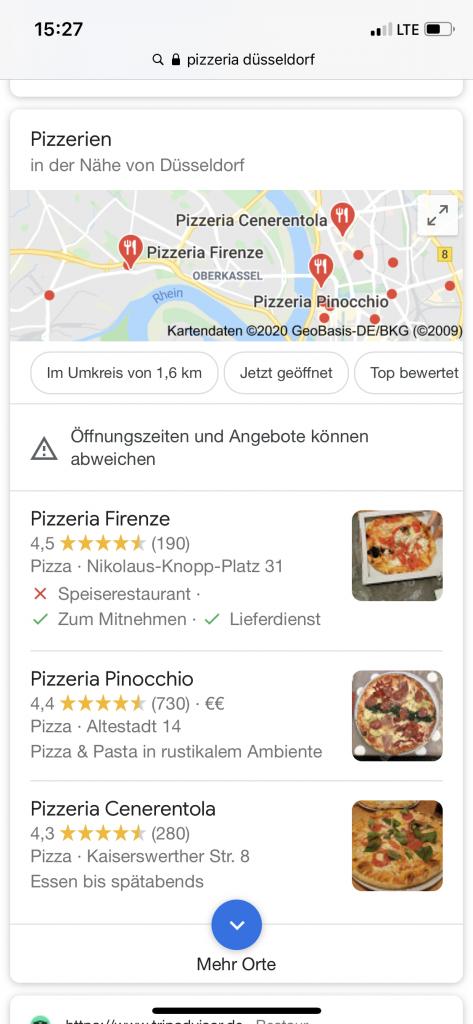 Screenshot Google Local Pack bei navigationaler Suchintention