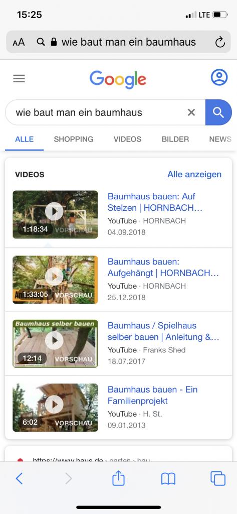 """Screenshot Googlee Video Suchergebnisse zu """"Wie baut man ein Baumhaus"""" - Blog: Was ist die Suchintention"""