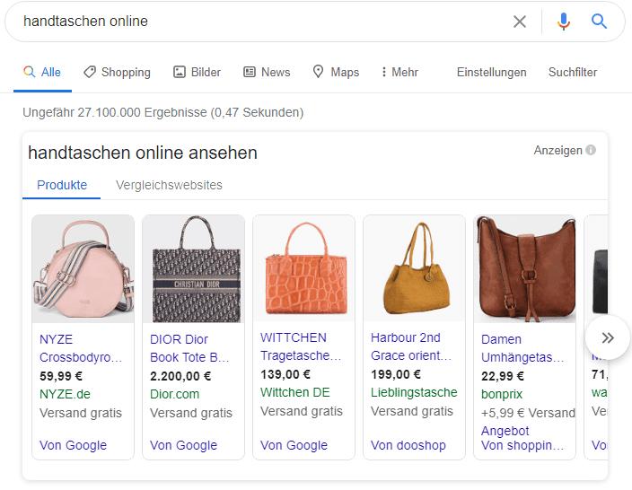 Vorschau der Google Shopping Ansicht auf der Google Suchergebnis-Seite