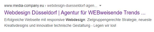 Metadaten der Unterseite Webdesign von Webweisend auf der Google Suchergebnisseite
