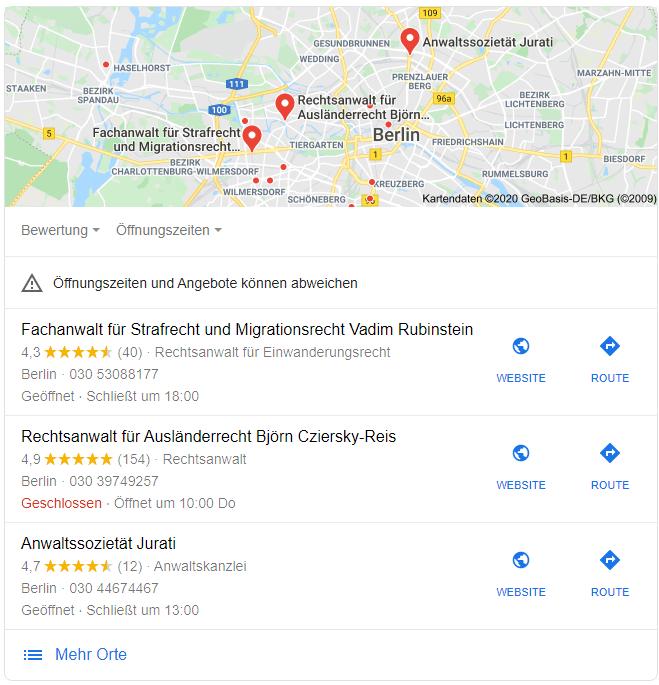 Google Maps Standorte Übersicht