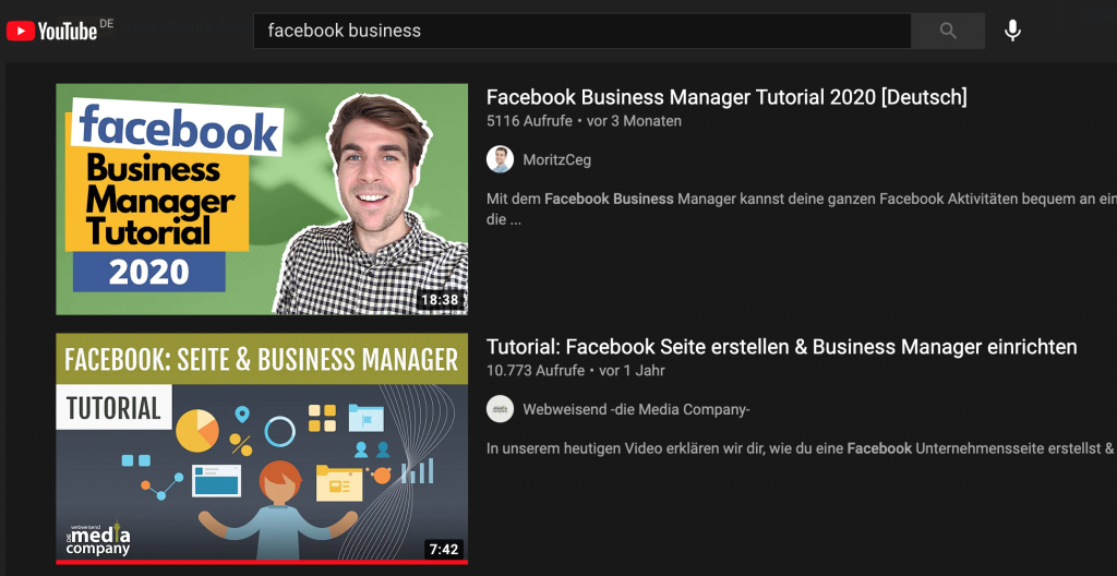 Screenshot YouTube Suchergebnisse - Blog: YouTube SEO