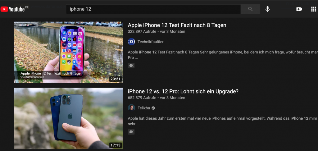 "Screenshot YouTube Suchergebnisse zu ""iPhone 12"" - Blog: YouTube SEO"