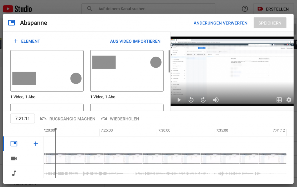 Screenshot Video Abspann erstellen - Blog: YouTube SEO